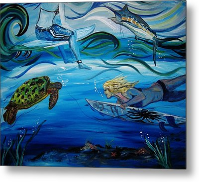 Metal Print featuring the painting Underwater Surfers by Amanda Dinan