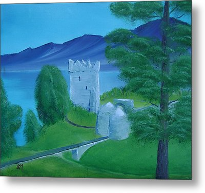 Metal Print featuring the painting Urquhart Castle by Charles and Melisa Morrison