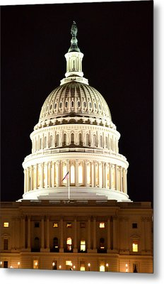 Metal Print featuring the photograph Us Capitol At Night by Pravine Chester