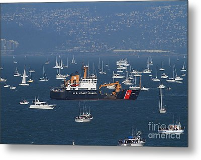 Us Coast Guard Ship Surrounded By Boats In The San Francisco Bay. 7d7895 Metal Print by Wingsdomain Art and Photography
