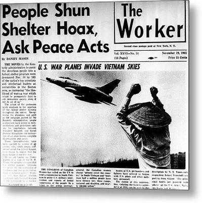 Us Planes Invade Vietnam Skies. An Metal Print by Everett