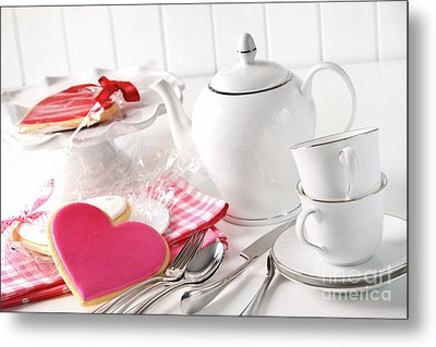 Valentine Cookies With Teapot And Cups Metal Print