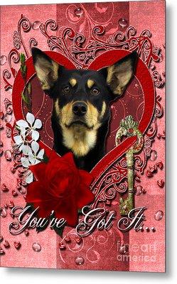 Valentines - Key To My Heart Australian Kelpie Metal Print by Renae Laughner