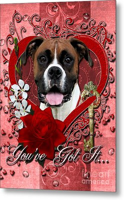 Valentines - Key To My Heart Boxer Metal Print by Renae Laughner