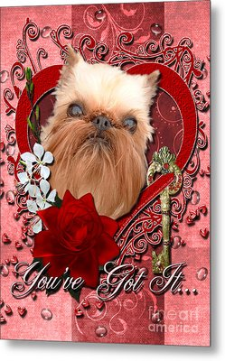 Valentines - Key To My Heart Brussels Griffon Metal Print by Renae Laughner