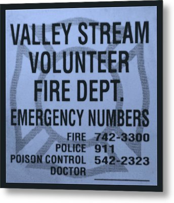 Valley Stream Fire Department In Cyan Metal Print by Rob Hans