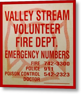 Valley Stream Fire Department Metal Print by Rob Hans