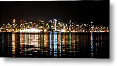 Vancouver Skyline At Night Metal Print