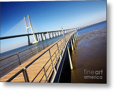Vasco Da Gama Bridge Metal Print by Carlos Caetano