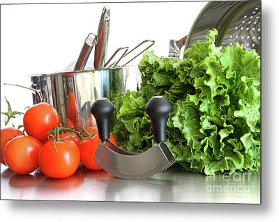 Vegetables With Kitchen Pots And Utensils On White  Metal Print