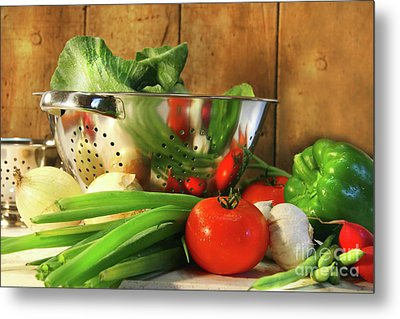 Veggies On The Counter Metal Print by Sandra Cunningham