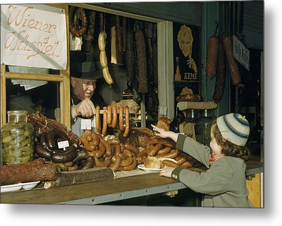 Vendor Holds Up Sausages For Young Girl Metal Print by Volkmar Wentzel