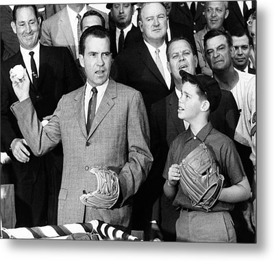 Vice President Nixon Officially Opens Metal Print by Everett