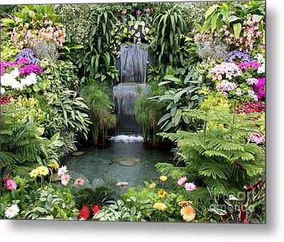 Victorian Garden Waterfall - Digital Art Metal Print by Carol Groenen