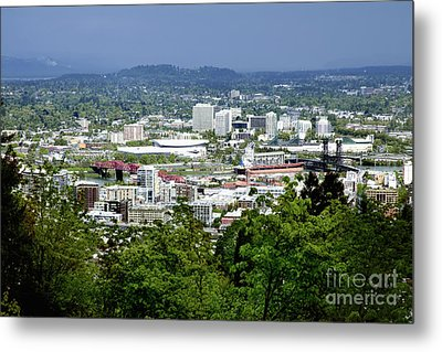 View Of Portland Oregon From Pittock Mansion  Metal Print by Sherry  Curry