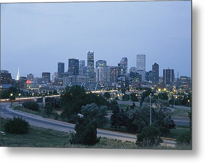 View Of The Denver Skyline At Twilight Metal Print by Richard Nowitz