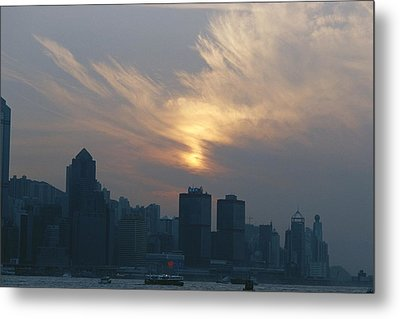 View Of The Hong Kong Skyline At Sunset Metal Print by Raul Touzon