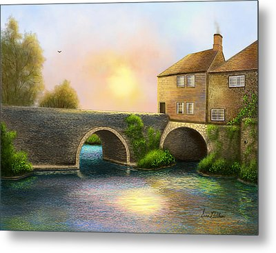Village On The River Metal Print