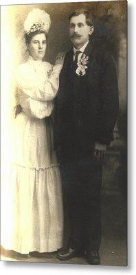 Vintage Bride And Groom Metal Print by Alan Espasandin