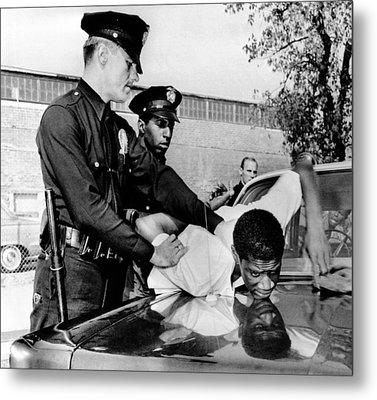 Violence In Los Angeles Street. Police Metal Print by Everett