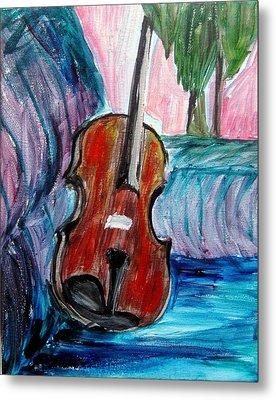 Metal Print featuring the painting Violin by Amanda Dinan