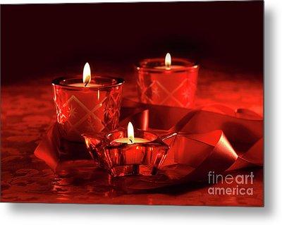 Votive Candles On Dark Red Background Metal Print by Sandra Cunningham