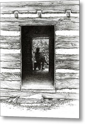 Metal Print featuring the drawing Walker Sisters' Cabin Door by Bob  George