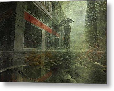 Walking In The Rain Metal Print by Carol and Mike Werner