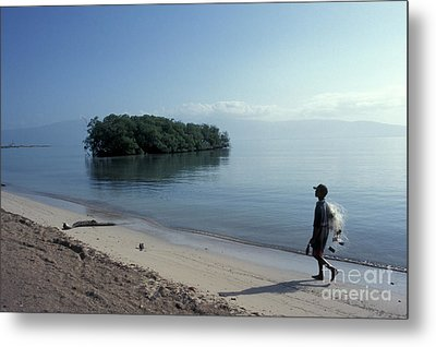 Metal Print featuring the photograph Walking The Beach At Dawn Barahona Dominican Republic by John  Mitchell