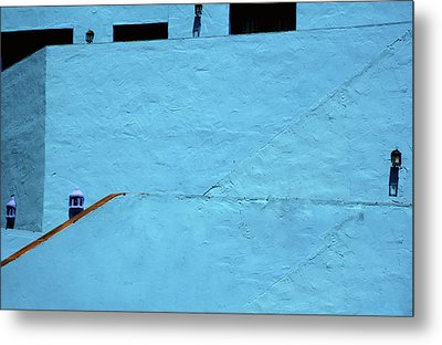 Walls In Blue Metal Print
