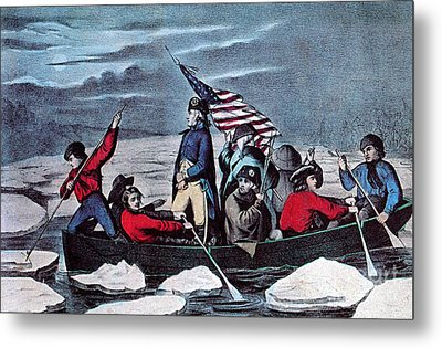 Washington Crossing The Delaware, 1776 Metal Print by Photo Researchers