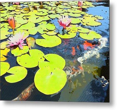 Water Lilies And Koi Metal Print by Russ Harris