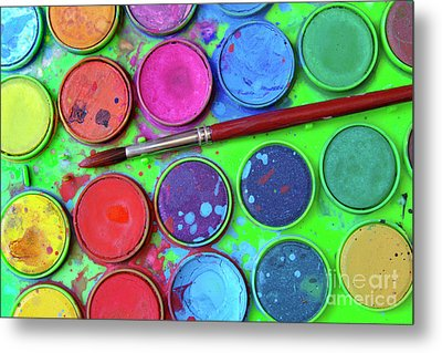 Watercolor Palette Metal Print by Carlos Caetano