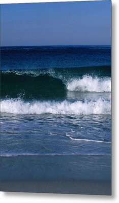 Wave Breaking Left On The Beach At 17 Metal Print by James Forte