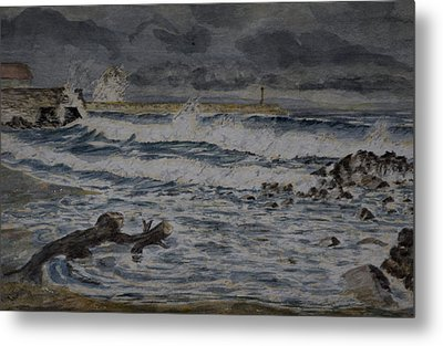 Metal Print featuring the painting Waves On The Pier by Rob Hemphill