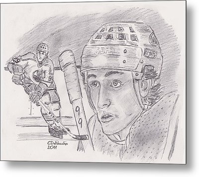 Metal Print featuring the drawing Wayne Gretzky-the Great One by Chris  DelVecchio