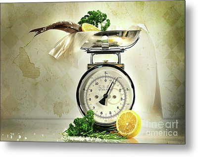 Weight Scale With Fish  Metal Print by Sandra Cunningham