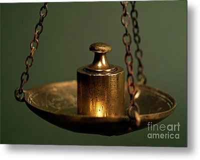 Weights On Scale Metal Print by Sami Sarkis