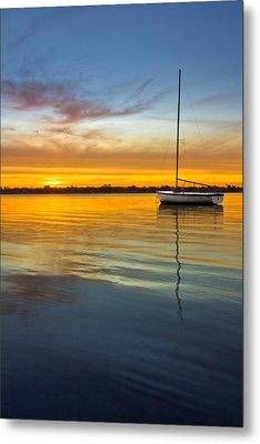 White Boat Metal Print by Debra and Dave Vanderlaan