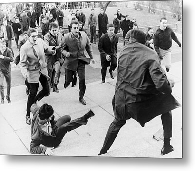 White Students Running Toward An Metal Print by Everett