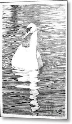 White Swan Metal Print by Muna Abdurrahman