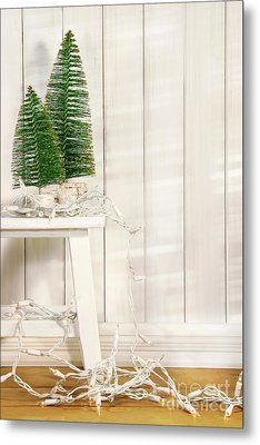 White Tree Lights  Metal Print by Sandra Cunningham