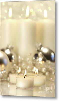 White Votive Candles  Metal Print by Sandra Cunningham
