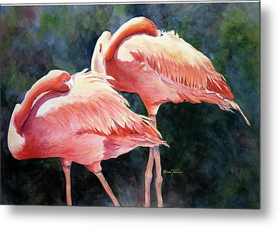 Metal Print featuring the painting Who's Peek'n - Flamingos by Roxanne Tobaison