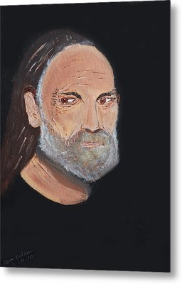 Willie Nelson In Black Metal Print
