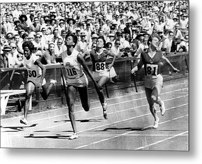 Wilma Rudolph, Winning The Womens Metal Print by Everett