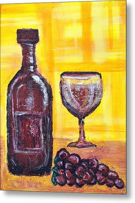 Wine Still Life 2 Metal Print by Janice Gelona