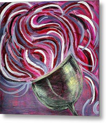 Wine Swirl Metal Print by Janice Gelona