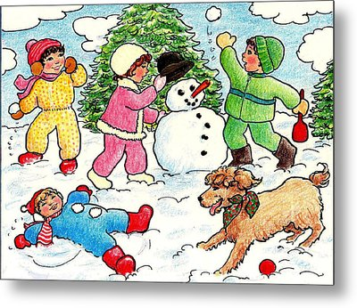 Metal Print featuring the drawing Winter Fun by Dee Davis