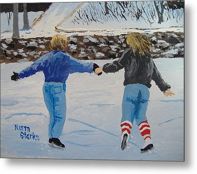 Metal Print featuring the painting Winter Fun by Norm Starks